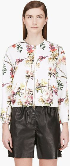 White Floral Print Bomber Jacket - Lyst