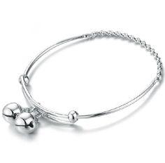925 Silver Dangling Bells Bangle Bracelet