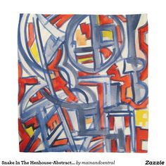Snake In The Henhouse-Abstract Expressionism Print Bandana with Hand Painted Geometric Art in Bold Red, Blue and Yellow