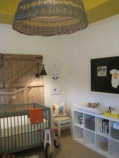 Suzie: Sherry Hart Designs - Adorable yellow gray orange boy's nursery design with gray modern ...