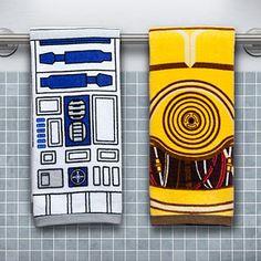 Star Wars Hand Towel Set - R2-D2 & C-3PO from ThinkGeek. Ship worldwide with Borderlinx.com