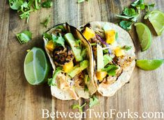 Paleo Grilled Shrimp Tacos with Smoky Chipotle Slaw and Mango Relish with Paleo Tortillas made using Otto's Naturals Cassava Flour | Between Two Forks