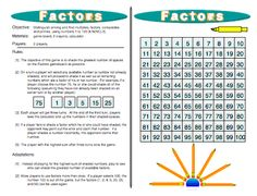 This fun #Factors Game helps kids to more fully understand what prime factorization is all about. This game helps kids connect the meaning of prime numbers, composite numbers, greatest common factor, prime factorization, and least common multiple. Common Core 6.NS.4 READ MORE HERE: http://www.mathfilefoldergames.com/factors-multiples-factors-composites-and-primes-game/ $3