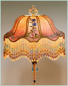 Antique Victorian Lampshade with French Embroidery - exquisitely hand embroidered flower spray appliqués