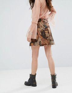 Reclaimed Vintage Inspired Mini Skirt In Woven Animal Tapestry - Black