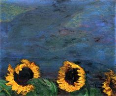 Blue Sky and Sunflowers by Emil Nolde | Lone Quixote |  #EmilNolde #nolde #expressionism #art #painting #flowers #sunflowers