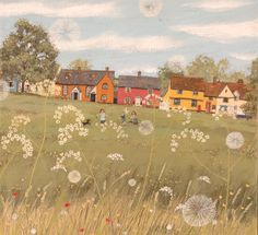 Summer Day, Hartest Village Green by Lucy Grossmith.  Lucy is a a self-taught artist with a desire to follow an independent path.  I love her work.  It all has such simple lines about it - but it's that which gives it such an impact.  Love it.  (Lucy lives in Suffolk in England).