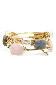 Bourbon+and+Boweties+'Rose+Agate+&+Labradorite'+Stone+Bracelets+(Set+of+3)+available+at+#Nordstrom