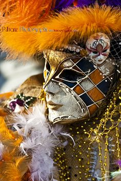 A beautiful harlequin-patterned mask and costume for  Carnevale de Venezia.
