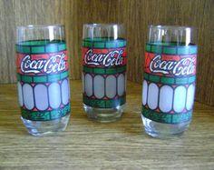 Vintage Coca Cola glazen / gekleurd glasontwerp / drinkglazen/oude ouderwets/Collectible/4th of July / Inwijdingsfeest/man cave / bar ware