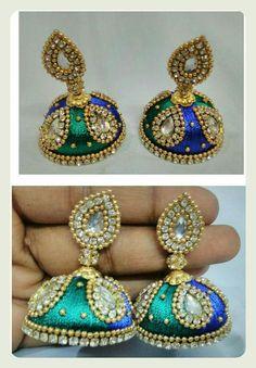 Silk Thread Earrings Designs, Silk Thread Jhumkas, Silk Thread Bangles, Thread Jewellery, Designer Earrings, Jewelery, Ornament, Drop Earrings, Shop