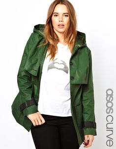 ASOS Curve | ASOS CURVE Contrast Trench With Hood at ASOS