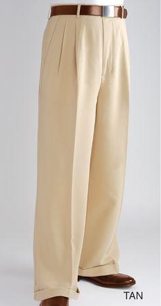 Fratello Slacks Mens Wide Leg Dress Pants Tan DP-106