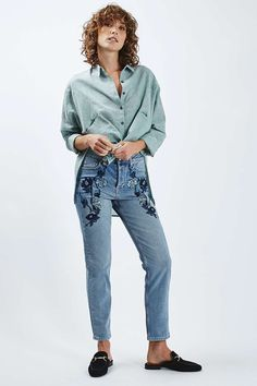 MOTO Blue Embroidered Straight Leg Jeans - Jeans - Clothing - Topshop USA