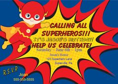 Flash Invitation Superheros Birthday Invitation Printable DIY Personalized Party Invitation for Kids Free Thank You Note Instant Download