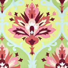 Amy Butler - Love Home Dec - Trumpet Flowers in Pink @Kerry Bowlin I've always kinda had a thing for this fabric..it's a home dec Amy Butler (which is who made my fabric all my curtains are)