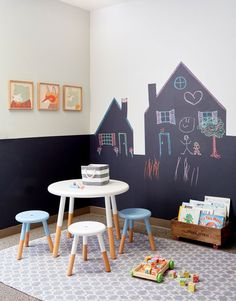 Love this idea - chalkboard houses made by taping off the wall with painter's tape and adding chalkboard paint. DAVID TSAY PHOTOGRAPHY © 2015 ALL RIGHTS RESERVED NO REPRODUCTION WITHOUT PRIOR WRITTEN CONSENT
