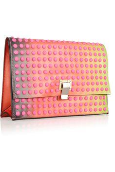 Rethink pink - it's the color of the season. Proenza Schouler|Studded dégradé leather clutch|NET-A-PORTER.COM