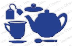 Impression Obsession Tea Set Die. This is a set of 6 dies. The teacup is 1 x 1 1/4 and the teapot is 1 5/8 x 2 3/8. These are US-made steel dies compatible with