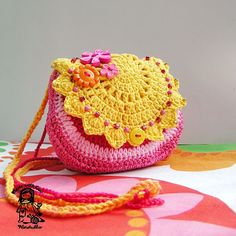 """I love this bag! """"Sunny - thank you for the sunshine you give"""" - crocheted bag in pinks and yellow - and look, some of the pink yarn has a bit of metallic thread in it too! :D Beautiful work."""