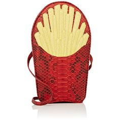 """Gelareh Mizrahi Women's \""""Would You Like Fries With That\"""" Python... ($595) ❤ liked on Polyvore featuring bags, handbags, clutches, yellow, python purse, red clutches, red purse, yellow purse and strap purse"""