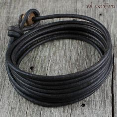 Mens Leather Bracelet  Brown Cord Wood Bead by SolCreationsJewelry, $24.50
