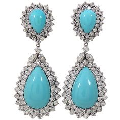 Outstanding Turquoise Diamond Earrings (1.777.670 RUB) ❤ liked on Polyvore featuring jewelry, earrings, diamond earrings, diamond jewelry, cabochon earrings, cabochon jewelry and round turquoise earrings