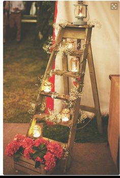 Best way to use a old step ladder xx wedding candles and jars
