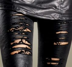Ripped Black Lace Faux Leather Leggings by CustomStudded on Etsy, $20.00