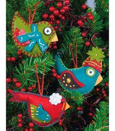 "Whimsical Birds Ornaments Felt Applique Kit-2.75""X4.75"" Set Of 3 & Felt Applique at Joann.com:"