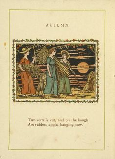 Happy Autumn! Illustration from Almanack for 1890 by Kate Greenaway, an English children's book illustrator.