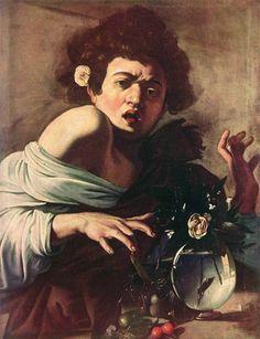 Thumbnail for version as of 12:23, 15 December 2008 Boy Bitten by a lizard  Michelangelo Caravaggio