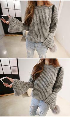 フレア袖 ざっくりニット セーター/ワイドスリーブ ニット:naning9(ナンニング)