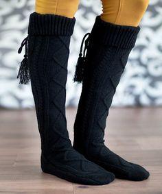 Love this Black Tassel Knee-High Socks on #zulily! #zulilyfinds