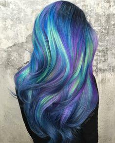 Galaxy Hair Color Ideas & Trends:How to Do Galaxy Hair Hair Dye Colors, Cool Hair Color, Coloured Hair, Bright Hair, Dream Hair, Rainbow Hair, Crazy Hair, Pretty Hairstyles, Latest Hairstyles