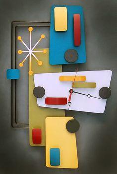 Atomic clock and sign art by Stevotomic - Retro Renovation Clock Art, Diy Clock, Mid Century Modern Decor, Mid Century Art, Midcentury Modern, Retro Clock, Retro Art, Atomic Decor, Look Retro