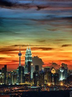 Kuala Lumpur at dusk, Malaysia  (by yaman ibrahim)