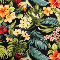 Trans-Pacific Textiles Hawaiian Tropical Floral Black 112cm (44-inch) Wide…