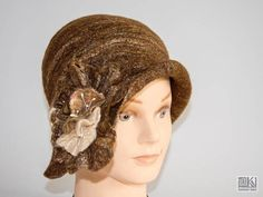 Brown cloche hat Chocolate brown hat felted bown hat Brown