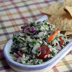 Went to Glenwood Springs ate at a Mexican restaurant, that served a cabbage salsa with chips.  It was REALLY good.  Trying to capture the recipe.