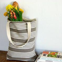 Striped market tote by jillbent on Etsy