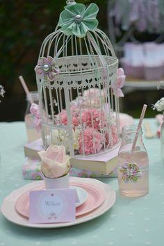 Vintage Tea Birthday Party place setting and decorations! See more party ideas at CatchMyParty.com!