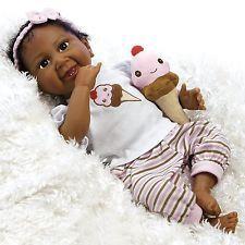 African American Ethnic Doll Realistic Reborn Baby Girl Lifelike Black Hair AA