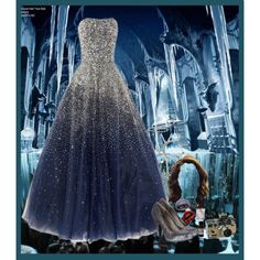 Harry Potter Ravenclaw Themed Blue And Silver Wedding Dress