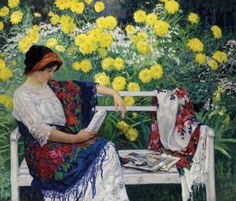 Nikolay Bogdanov-Belsky (Russian, 1868–1945). Reading in the garden, 1915.