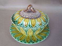 RARE Antique Wedgwood Majolica Sunflower Covered Dish | eBay