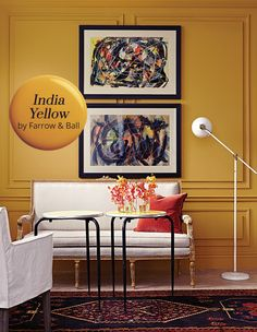Living Room Paint India - Paint Color Pick India Yellow By Farrow & Ball Yellow Paint Colors, Bedroom Paint Colors, Yellow Painting, Living Room Paint, Living Room Decor, Farrow Ball, My New Room, Living Room Designs, Interior Design