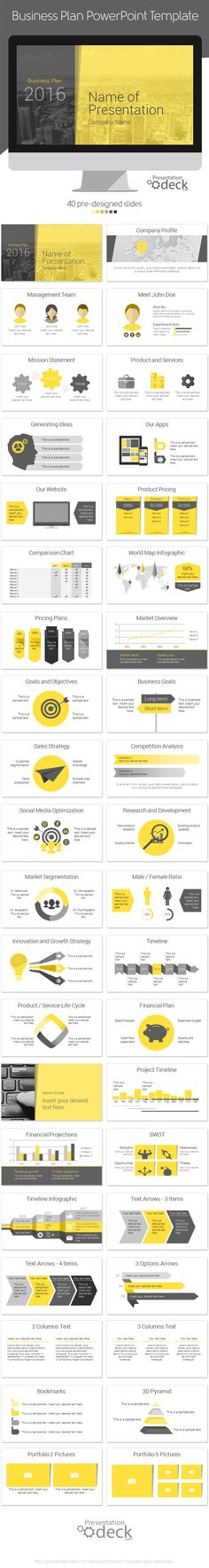 Modern business plan PowerPoint template containing 40 slides. #powerpoint #presentations