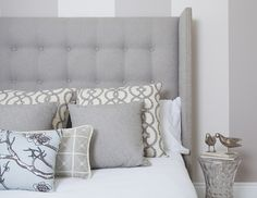 *Tweed Tufted Headboard (no wings)* Modern Studded Wing Headboard in Dwell Studio Tonal Tweed modern bedroom. Neutral Bedroom Decor, Home Decor Bedroom, Modern Bedroom, Bedroom Ideas, Bedroom Interiors, Kids Bedroom, Studded Headboard, Striped Walls, Quartos