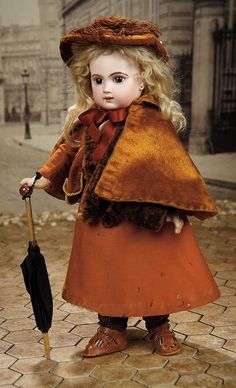 """17"""" (43 cm.) French Bisque Bebe E.J. by Emile Jumeau with Lovely Costume"""